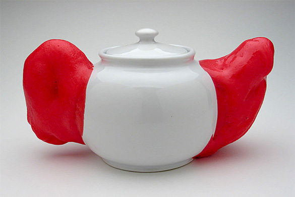 Teapot with Cushion | 2006 | teapot, urethane foam and silicone