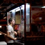 Man Ordering a Hot Dog