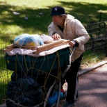 Man with Cart in Central Park